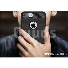Luxury Carbon Fiber Brushed Wire Drawing Silicone TPU Back Cover for iPhone 8 Plus / 7 Plus 8P 7P(5.5 inch) (Black)