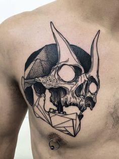Michele Zingales #tattoo #skull #geometric