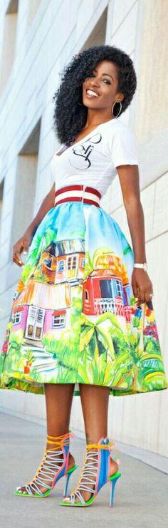 V-neck Tee   Village Print Midi Skirt / Fashion by Style Pantry