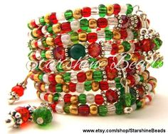 Onice verde e mista bobina bracciale  memoria di StarshineBeads