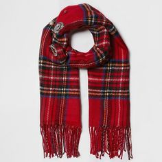 River Island Red plaid check brooch embellished scarf ($64) ❤ liked on Polyvore featuring accessories, scarves, red, women, plaid shawl, tartan plaid shawl, red shawl, plaid scarves and tassel scarves