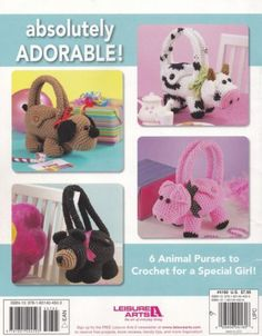 Cute-Critter-Purses-Leisure-Arts-Crochet-Pattern-4160-Bunny-Kitten-Puppy-amp-More