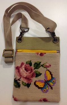 Rose and butterfly themed vintage needlepoint repurposed into shoulder waist cross body purse with zipper Embroidery Bags, Embroidery Scissors, Vintage Embroidery, Vintage Sewing, Couture Vintage, Tapestry Bag, Art Bag, Unique Purses, Fabric Bags