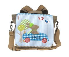 Rucksäcke - Kindergartenrucksack mit Namen-Blaues Hasenrennen- - ein Designerstück von wohnzwerg bei DaWanda