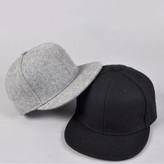 Black gray wool Snapback Baseball Hat Cap Plain Basic Blank Flat Bill Visor