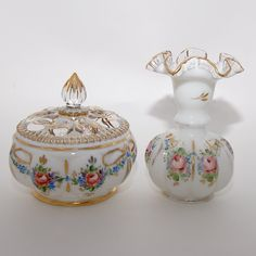 Vintage Fenton Hand Painted Glass Vase and Melon Powder Jar. $95.00, via Etsy.  Gorgeous.