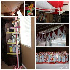 Decorations: ticket stubs, tablecloths made into the shape of a circus tent, a sign I made from leftover wood, popcorn tins, red/whit. Circus Carnival Party, Carnival Birthday Parties, Carnival Themes, 3rd Birthday, Happy Birthday, Themed Parties, Birthday Ideas, Throw A Party, Party Time