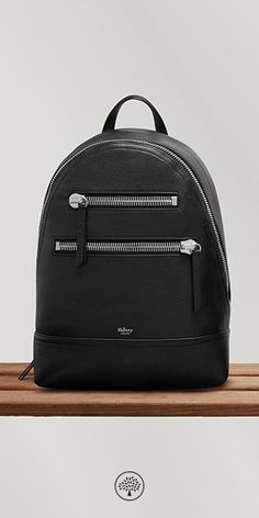 Shop the Kenrick in Black Leather at Mulberry.com. This contemporary backpack will be your new favourite way to get from A to B. Front statement zips add an edge to an otherwise classic style. Set up for the ultimate practicality it features canvas lining, a padded and quilted back and adjustable webbing straps.