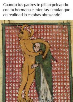Classical art paintings were the original memes Photos) Classical Art Memes, Chewbacca, Funny Art, Funny Memes, 9gag Funny, Memes Humor, Funny Signs, Memes Historia, Medieval Memes