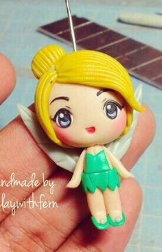 DIY your photo charms, compatible with Pandora bracelets. Make your gifts special. Make your life special! Polymer clay tinkerbell by fern Polymer Clay Princess, Polymer Clay Disney, Polymer Clay Figures, Cute Polymer Clay, Cute Clay, Polymer Clay Dolls, Polymer Clay Miniatures, Polymer Clay Projects, Polymer Clay Creations