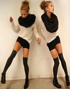 high socks + comfy scarves...Dont know if I would have the courage to wear this but very cute :)
