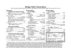 Bridge Club's Cheat Sheet