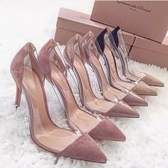 2019 Gold Studded Suede With Plexiglass Clear PVC High Heels Women Shoes Pointed Toe Pumps Nude Women Drees Party Shoes Stiletto Pretty Shoes, Beautiful Shoes, Nude Shoes, Shoes Heels, Shoes Sneakers, Nude Pumps, Stilettos, Heeled Boots, Shoe Boots