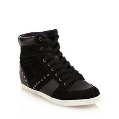 1234c043fd12 Call It Spring Black Studded Leather Round Toe  Merewina  Hi Top Shoe.-