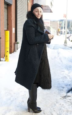 Kate Lanphear.  #nyfw #streetstyle #mbfw  (good winter look when you want a cozy, oversized fluffy coat without looking lazy)