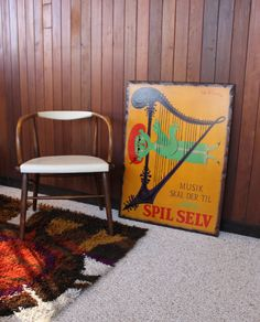 """This is a great vintage serigraph by famous Danish designer Bjorn Winblad that has been mounted on wood. It translates to """"Music must be played yourself! Rya Rug, Played Yourself, Danish, Whimsical, Mid Century, Rugs, Wood, Deck, Poster"""