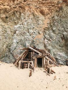 Seaside shelter made of driftwood in Big Sur,...