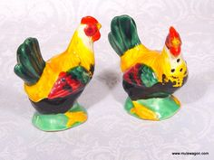 """A set of vintage ceramic salt and pepper shakers, designed like no chicken ever seen on earth! I think it's a rooster...3"""" tall, corks in base.  From MuleWagon.com   $11.99"""