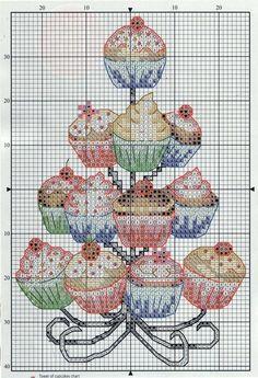 Cupcake cake stand cross stitch pattern