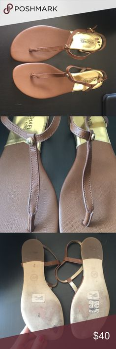- NEW LISTING - Michael Kors Sandals Michael Kors sandals. Worn once. Size 8.5. Normal wear on bottoms and some size sticker residue on heels. Brown with gold tone hardware. ❗️NO TRADES. NO PAYPAL.❗️ MICHAEL Michael Kors Shoes Sandals