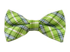"""Player Plaid - Apple Green, Linen Bow Ties (#BL039). Adjustable neck size 13 ¾"""" – 18 ½"""". Bow Ties are handmade of 20% Linen/80% Silk. $15for Self-Tie or Pre-Tied (2½"""" tall x 4½"""" wide)."""