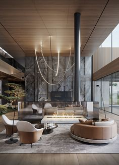 Modern Luxury Country House With Skylights & A Majestic Bonsai Garden Luxury Interior, Modern Interior, Home Interior Design, House Furniture Design, Living Room Interior, Furniture Decor, Living Rooms, Dream Home Design, Modern House Design