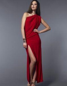 Honor Gold One Shoulder Maxi Dress