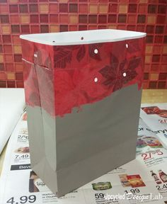 Christmas Gift Bag Makeover With House Paint and Cereal Box