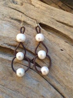 Beautiful, large freshwater pearls on a triple loop leather cord. Pearls are generous size, measuring 12-13mm in size. You will LOVE wearing your pearl and leather jewelry at the beach, but the pool o