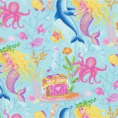 We love this Mermaid Wishes fabric by Kim Martin for @rjrfabrics! What will you find under the sea?  #mermaid #mermaidwishes #quiltwithlove #kimmartin #underthesea #treasurechest #dolphin #octopus #quilt #quilts #quilting #sew #sewing #craft #crafting #diy #fabric #crafts #patchwork #quilter #stitch #cotton #decor #homedec #apparel #fashion #sewingproject #craftproject