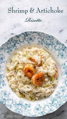 Shrimp and Artichoke Risotto! Risotto rice, clam stock, wine, artichoke hearts, and paprika seasoned shrimp. ~ SimplyRecipes.com
