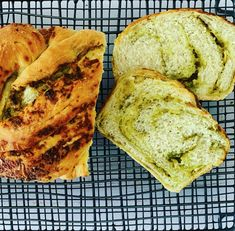 What could be better than a soft and tender bread filled with cheesy, garlic yumminess and a punch of pesto flavour. Eat as is, warm or cold, with a slather of butter, or serve as a side with your favourite braai (BBQ) dishes. Pesto Bread, Vegetarian Cheese, Quick Bread, Baking Recipes, Punch, Garlic, Bbq, Butter, Cold