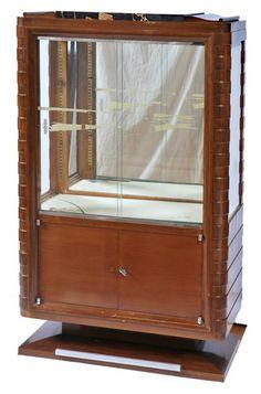 An Art Deco walnut and marble vitrine