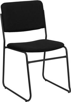 High Density Black Fabric Stacking Chair w Sled Base