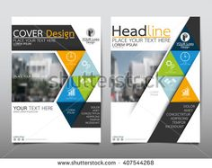 Blue and green square annual report brochure flyer design template vector…