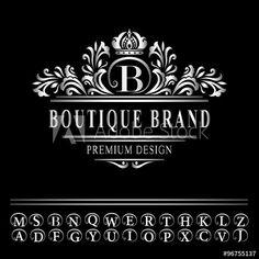 Luxury logo template flourishes calligraphic elegant ornament lines monogram design elements graceful template elegant line art logo design business silver emblem flashek Choice Image