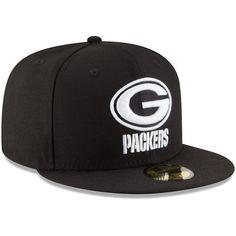 Green Bay Packers New Era B-Dub 59FIFTY Fitted Hat - Black 3727f7b1f