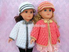 Crochet Pattern 3 PC Set for 18 in Doll  Crochet by AlenasDesign