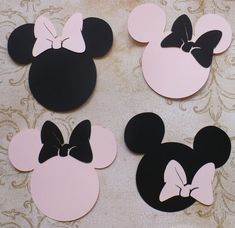 4 Minnie Mouse Head Shapes with Bows Pale / Light Pink and Black Die Cut pieces for crafts DIY Kids Crafts Birthday Party Banners Tags etc. Michaels Craft, Party Banners, Head Shapes, Circle Shape, Diy Crafts For Kids, Birthday Party Invitations, Minnie Mouse, Bows, Pink