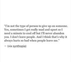 Not the type of person.