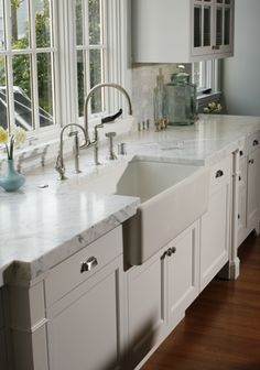 Suzie: Artistic Designs for Living - Gorgeous kitchen design with white kitchen cabinets with ...