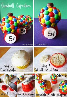 Gumball cupcakes.