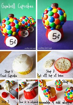Gumball cupcakes- really cute idea!