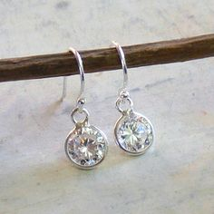 White CZ Cubic Zirconia Sterling Silver Earrings by DJStrang