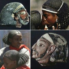 Ancient Amorrite Syrian cornrowed braids hairstyle worn with white headbands during ancient Egypt's 20th dynasty, in the reign of Rameses III, compared to modern Ethiopian Oromo traditional hairstyle worn by women. Collage, Amina Bari.
