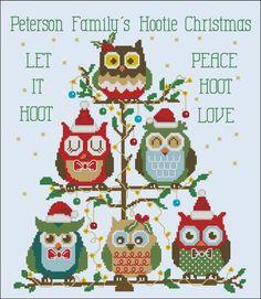 Christmas Owls - corujas em ponto cruz