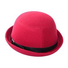 2017 Vintage Women Fedora Wool Felt Wide Brim Bowler Hat Bucket Cap Multi-Colors