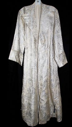 Vintage 1950's Brocade Belted Robe- this silvered fabric makes for seriously luxurious lounging!