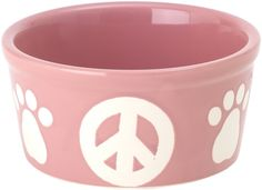 Petrageous Stoneware Pet Bowls Peace Paws, 6-Inch, 3-Cups, Peaceful Pink *** Special dog product just for you. See it now! : Dog bowls