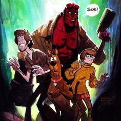 Hellboy, Shaggy, Velma and Scooby Doo - Andrew Robinson Comic Books Art, Comic Art, Comic Character, Character Design, Andrew Robinson, Scooby Doo Mystery, Velma Dinkley, Scooby Snacks, Pinturas Disney